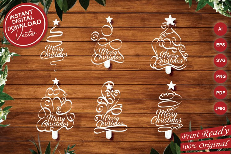 Papercut Merry Christmas Textual Tree Set example image 1