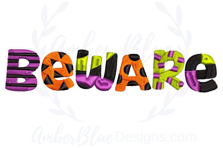 Beware Halloween Embroidery Design example image 1