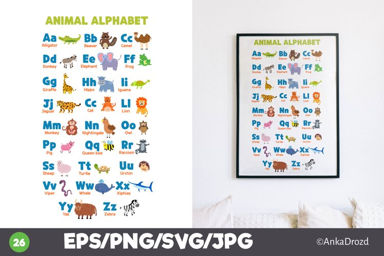 Animal Kids Alphabet Clipart, English ABS letters School example image 1