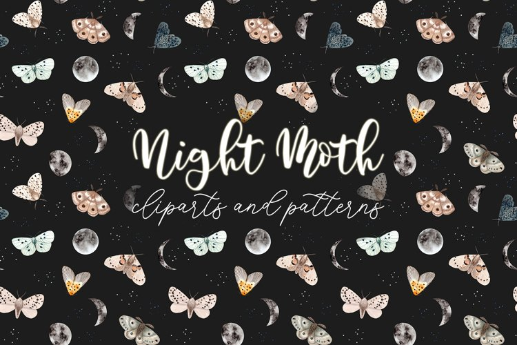 Night Moth. Watercolor Patterns and Clipart example image 1