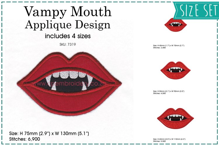 Vampy Mouth Applique Design example image 1