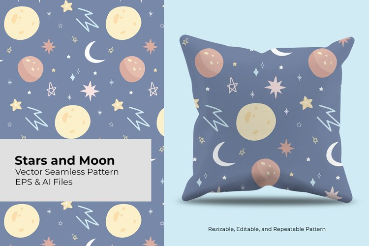 Stars and Moon | Seamless Pattern example image 1