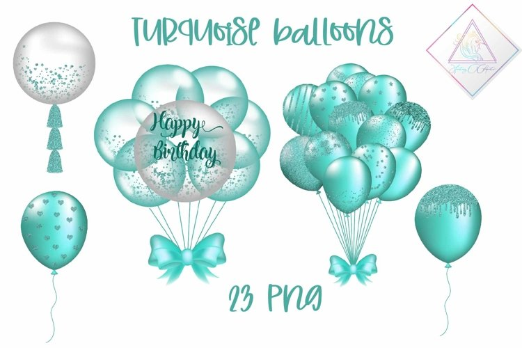 Turquoise Balloon Clipart example image 1