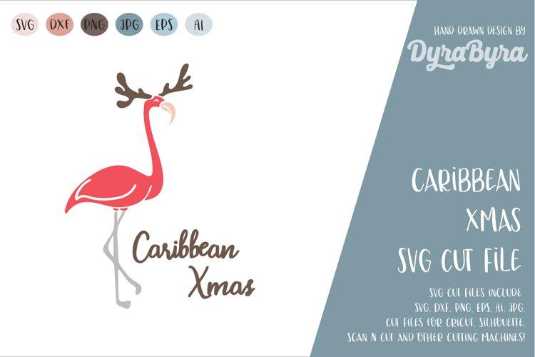 Caribbean Xmas SVG / Flamingo Christmas SVG / Xmas Cut File example image 1