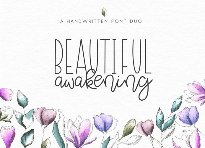 Beautiful Awakening - A Serif & Script Font Duo example image 1