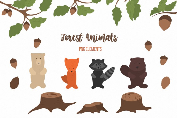 Cute Forest animals Baby autumn animals Woodland clipart example image 1
