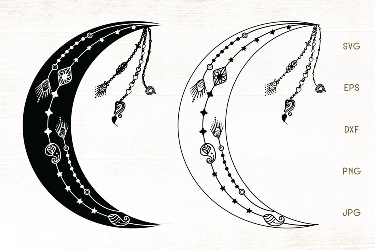 Crescent Moon - Moon SVG Cut File example image 1