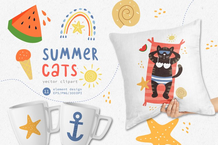 Summer Cats clipart, Animal Clipart