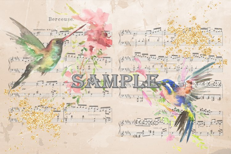 Hummingbird musical backgrounds JPEG and PDF example image 1