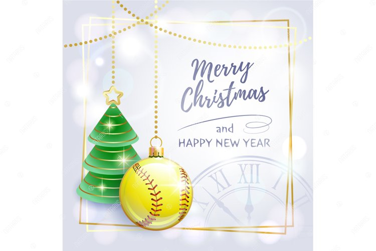 Merry Christmas. Happy New Year. Greeting card. Softball. example image 1
