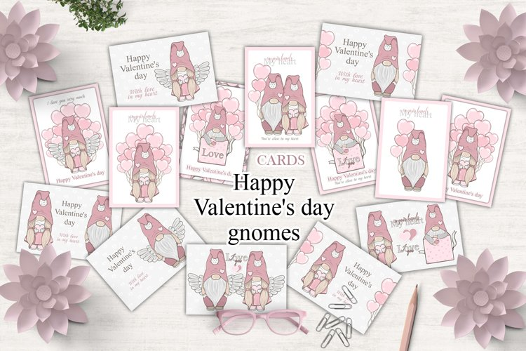 Valentine's day gnomes Bundle cards Love angel example image 1