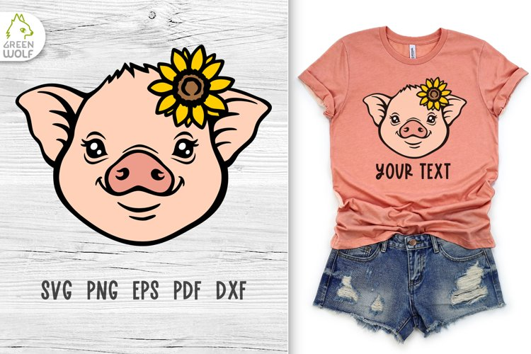 Pig face svg Pig svg Baby farm animals svg Sunflower svg example image 1