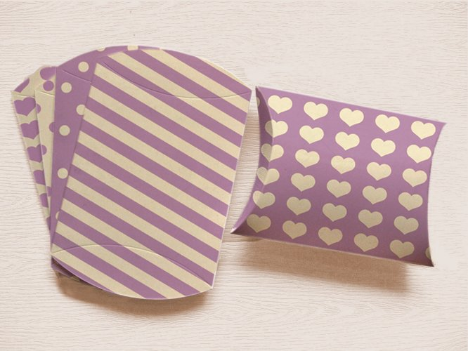 Violet Printable Pillow Boxes with Stripes Polka Dots, and Hearts  example image 1