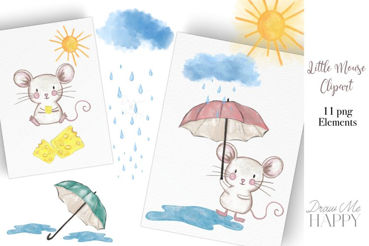 Mouse Clipart, Weather Clipart, Cute Mouse example image 1
