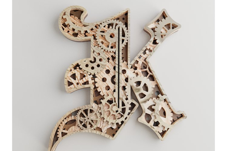 Layered Letter K - 5 layers - SteamPunk Alphabet - laser cut example image 1
