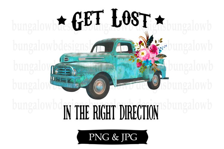 Get Lost In The Right Direction Turquoise Truck Design example image 1