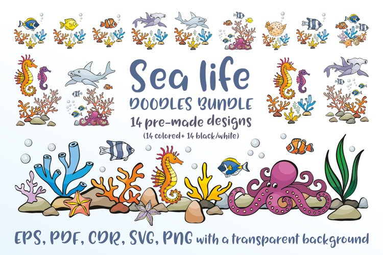 Sea life. Doodles bundle.