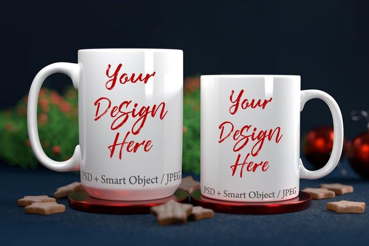 Christmas 11oz & 15oz white mug mockup with PSD smart object example image 1