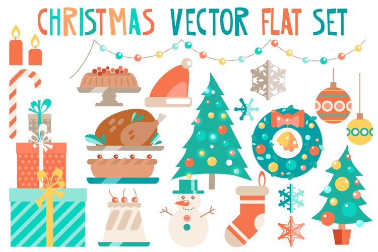 Christmas vector flat set example image 1