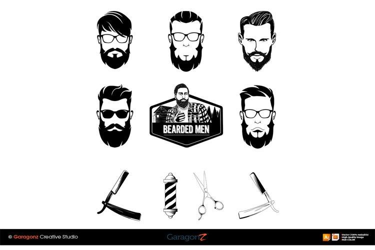 Barbershop set various bearded men faces