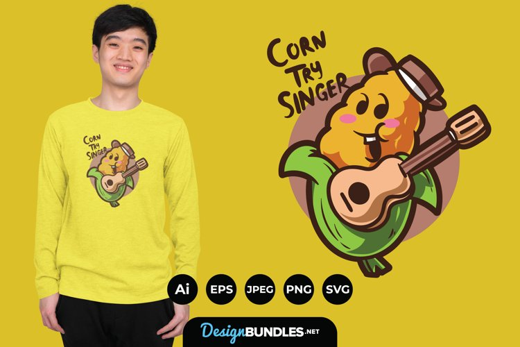 Cute Corn Cowboy with Guitar for T-Shirt Design example image 1