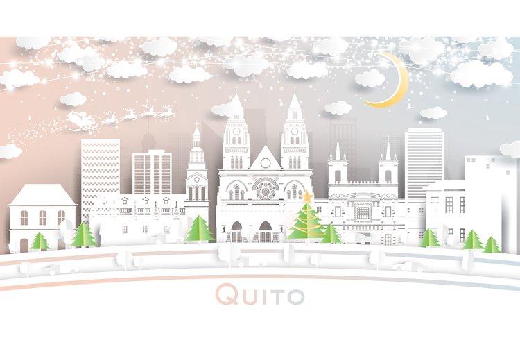 Quito Ecuador City Skyline in Paper Cut Style example image 1