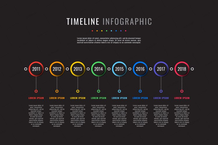 Horizontal timeline template with eight round elements example image 1