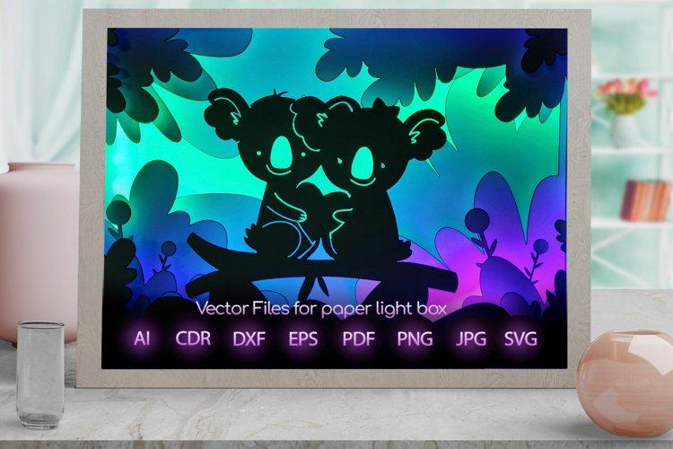 koala Light box PNG SVG DXF CDR template Papercut example image 1
