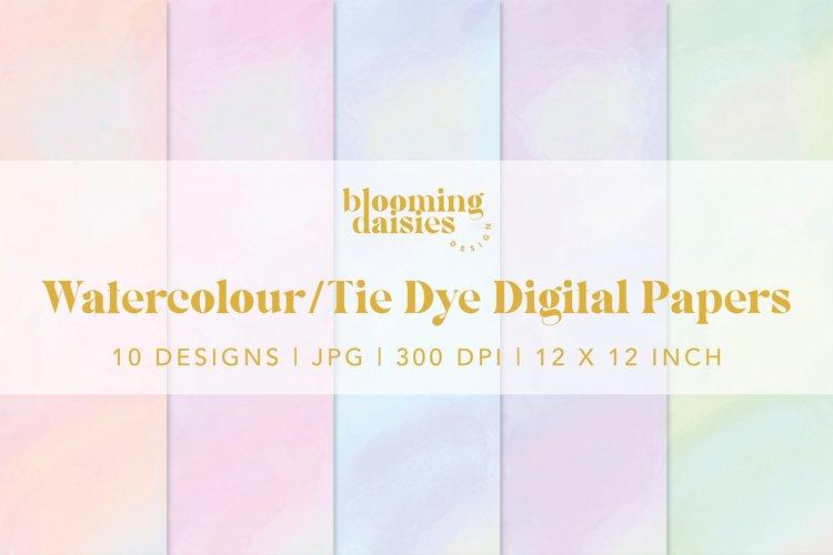 Pastel watercolor digital paper, tie dye paper bundle example 5