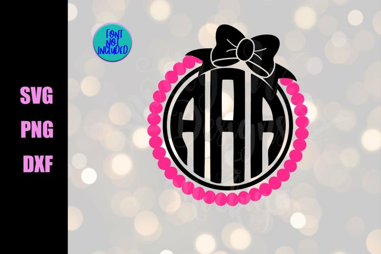 Monogram Border SVG - Pearl and bow SVG - Downloadable files example image 1