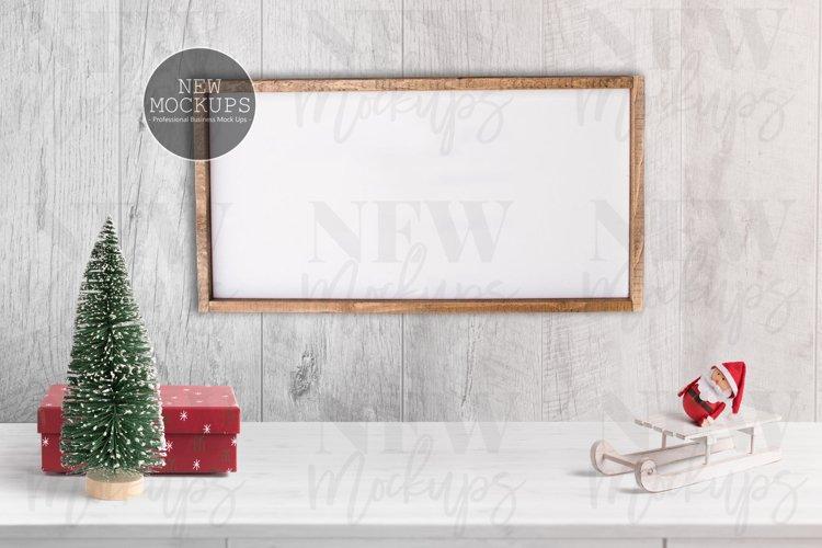Wood Sign 12x 24 Christmas Mockup, Farmhouse Styled Photo example image 1