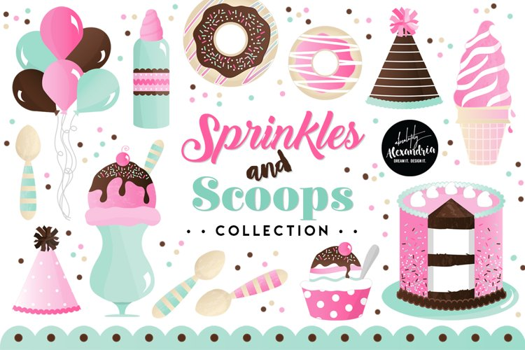 Sprinkles & Scoops Clipart Graphics & Digital Paper Patterns Bundle example image 1