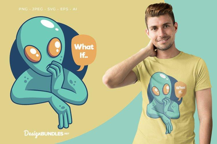 Thinking Alien Vector Illustration For T-Shirt Design