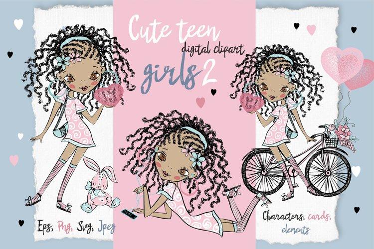 Cute Teen Girls 2, Digital Clipart, Fashion Girls, Valentine example image 1