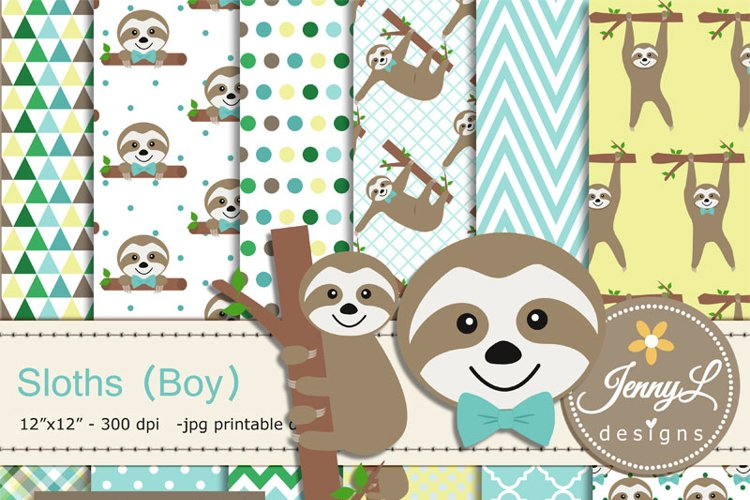 Sloth Boy Digital papers and Sloth Clipart SET, Sloth Party Animal for Birthday, Baby Shower, baptism Scrapbooking, Planner example image 1