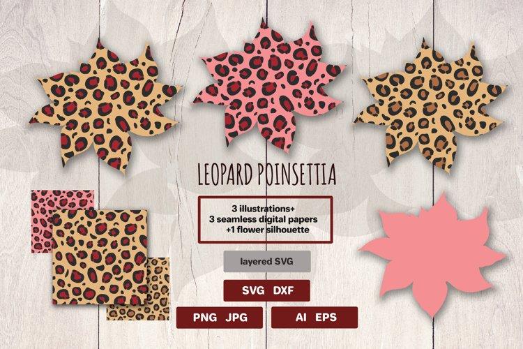 Christmas Leopard   Cheetah SVG Print   Poinsettia example image 1
