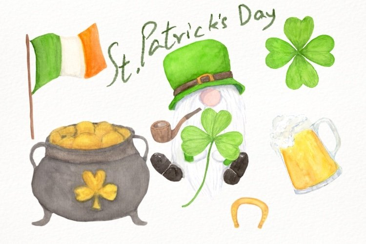 Gnome St Patricks Day PNG Watercolor Clip Art, Lucky Day