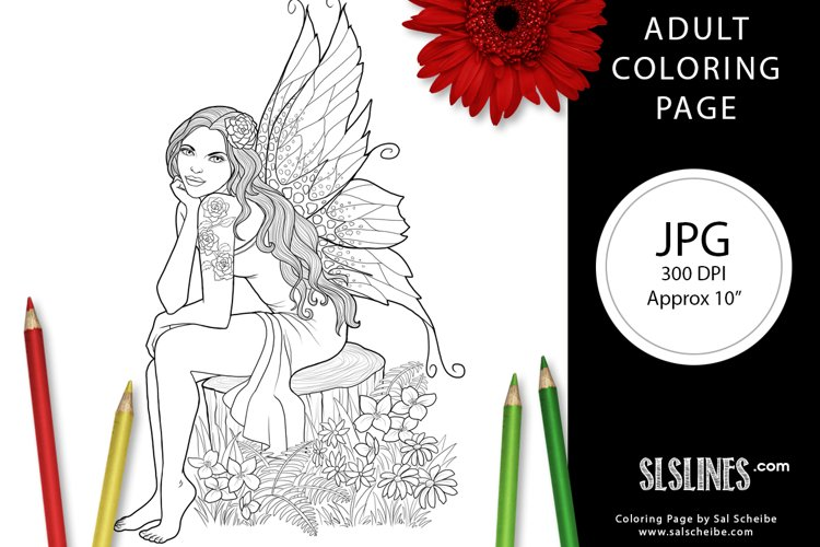 Nature Fairy with Wings Adult Coloring Page JPG example image 1