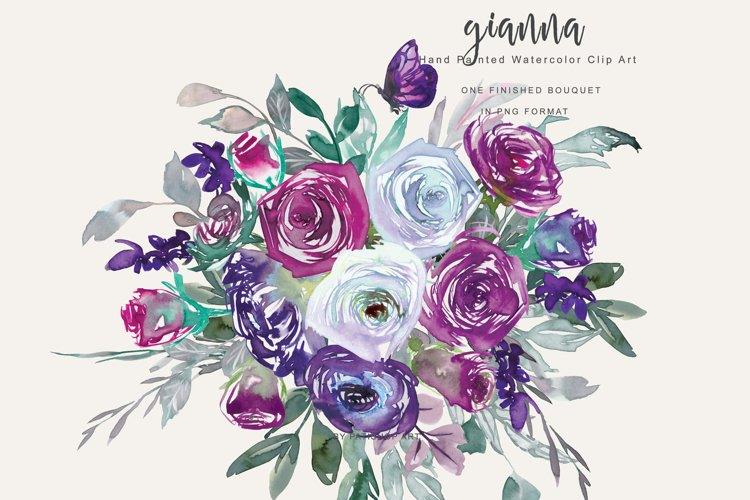 Watercolor Purple Violet and White Flower Clipart example image 1