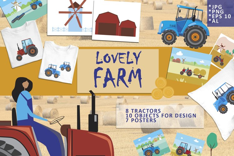 Lovely farm - illustration set with tractors example image 1