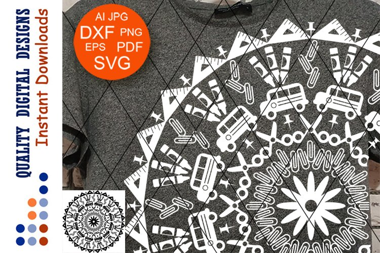 Mandala School Techer clipart SVG files for Cricut