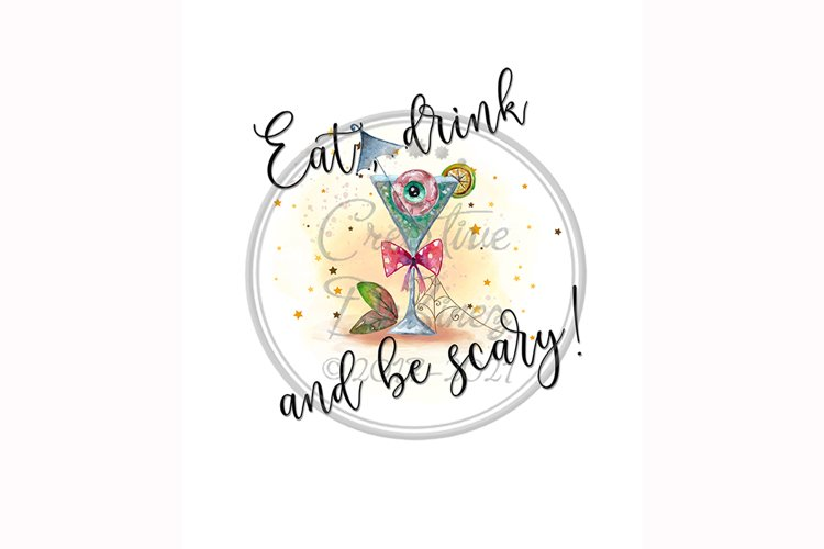 Eat Drink & Be Scary, Halloween Funny Towel Pun, Sublimation example image 1
