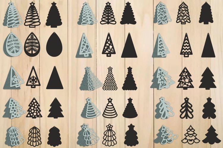 Christmas Earrings SVG, Christmas Tree SVG, Pendant Template example image 1