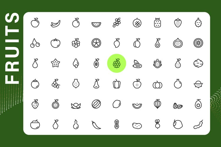 Fruits icons set example image 1