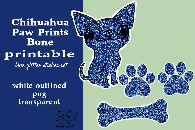 Chihuahua Blue Glitter Printable Sticker SET example image 1