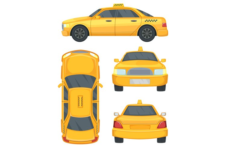 Different views of taxi yellow car. Automobile isolated on w example image 1