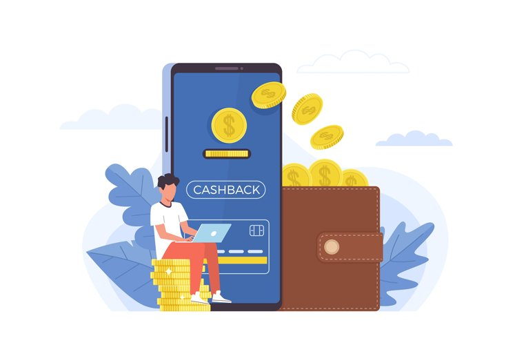 Cashback. Small people and big items coins, huge smartphone example image 1