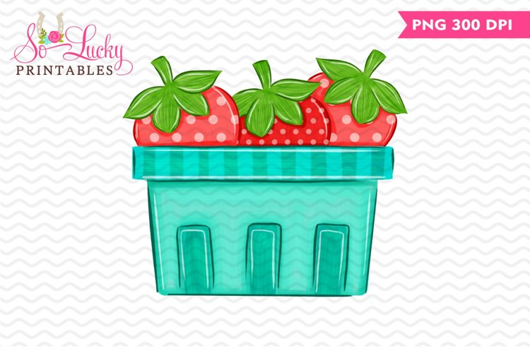Strawberries printable sublimation design example image 1