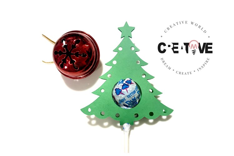Christmas Tree Lollipop Holder Template | Tree Lollipop svg example image 1