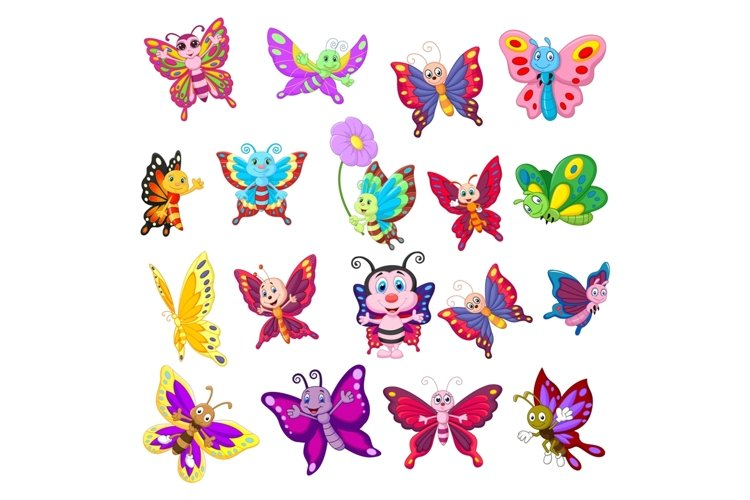 Set of Eighteen Cartoon Butterflies Character example image 1